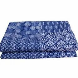 Indian Handmade Block Print Cotton Kantha Quilt Blanket Bedspread Throw King Size
