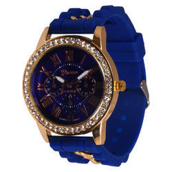 BLUE Synthetic Stone Work Analog Women Strap Watch