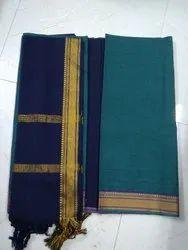 Plain Blue Cotton Dress Material, Size: Large
