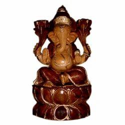 Wooden Kamal Ganesh With Black Finishing