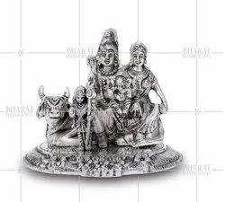 Silver Plated Shiv Pariwar Idol