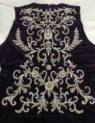 Black Velvet Jewel Effect Embroidery Work