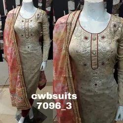 Punjabi Chanderi Ladies Suits, 2.25m, Size: Free Size