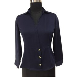 Casual Plain Ladies Blue Full Sleeve Georgette Top, Size: S-XL, Packaging Type: Packet
