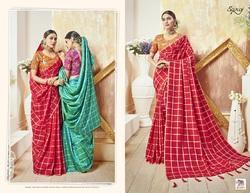 Party  Red Ethnic Plain Saree