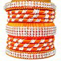 Latest Style Orange Jaipuri Silk Thread Bangles Set