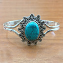 925 Sterling Silver Turquoise Gemstone Jewelry Bangle