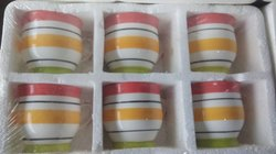 Multicolor Ceramic Tea Cup Set, Size: 90-120ml