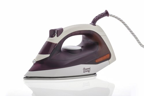 SAVVY Garment Steamer- 1000W Steam Iron in Dark Purple & White Color, Iron Box for All Fabric Types,