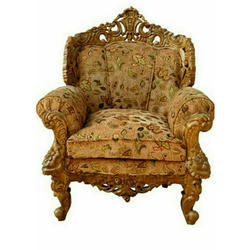Royal Antique Wooden Carved Chair, Finish: Polished