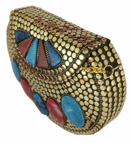 c5d84474d3879 NK Stunning Handmade Brass Metal Purse Clutch Evening Bag Gold with Multi  Color Stone