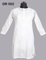 White Cotton Hand Embroidered Chikan Women's Long Kurti DR502