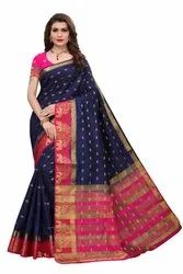 Designer Tussar Silk Weaving Saree with Blouse Piece