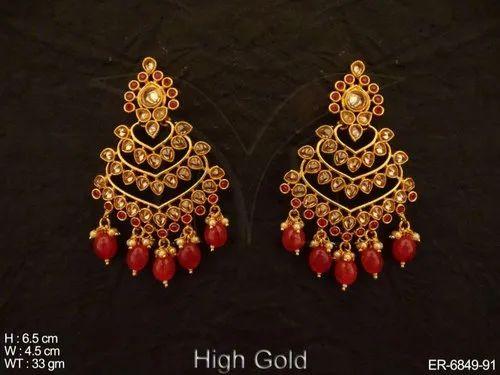 2b6bf8c7953 MANEK RATNA Party Wear Designer Polki Earrings
