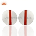 Round Silver Bar Shape Carnelian Gemstone Stud Earring Jewelry