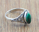 925 STERLING SILVER JEWELRY MALACHITE GEMSTONE RING WR-4979