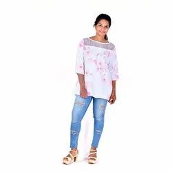 Printed 3/4th Sleeve Ladies White Rayon Round Neck Top, Size: S, M, L, XL
