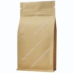 3D-Flat Bottom Side Gusset Kraft Paper Foil-Plastic Laminated Zipper Stand Up Pouches