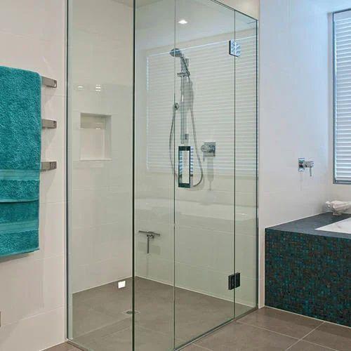 Plain Transparent Bathroom Glass Partition, Shape ...