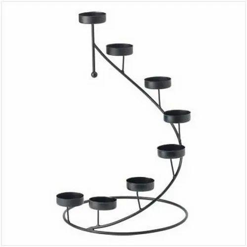 Black 38.1 Cm Iron Candle Holder, for Decoration
