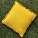 Linen Plain Mustard Pillow With Tassles