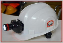 White And Green HDPE Safety Helmet With Led Light, Industries And Mining