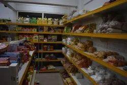 7 Feet Yellow & White Retail Store Rack, 6 Shelves, Size: H 7ft X L 4ft