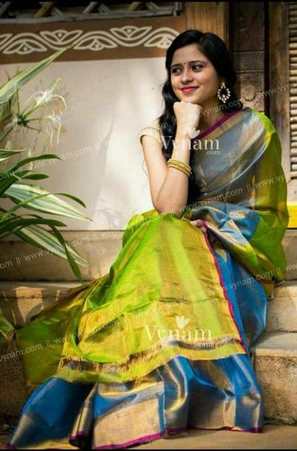 Running blouse  pure silk Uppada Pure Soft Silk Sarees, Handlooms, 6.3 m (with blouse piece)