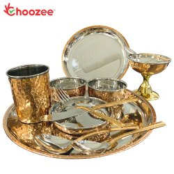 Choozee - Copper Thali Set (12 Pcs) of Plate, Bowl, Spoon, Glass, Ice-Cream Cup, Knife & Fork