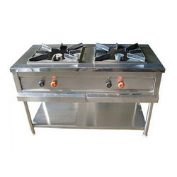 Stainless Steel Two Burner Cooking Range, Usage: Commercial Kitchens Such As Hotels , canteens For Bulk Cooking