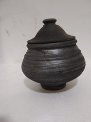 Clay Black Curd Pot Small-MK004