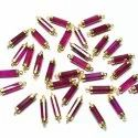 Pink Chalcedony Gold Electroplated Tube Shape Connector