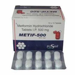 METIF Metformin Hydrochloride Tablet IP, For Personal, Packaging Size: 10 X 10 Tablets