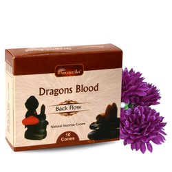 Aromatika Dragons Blood Backflow Natural Incense 120 Cones in Box of 12 Packs