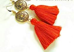 Golden And Red Tassels Earrings