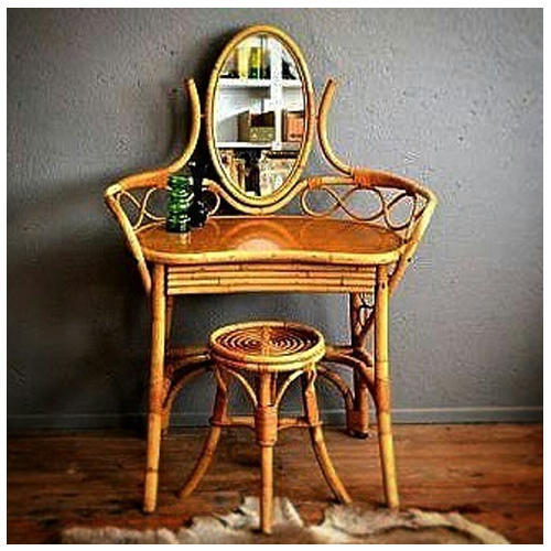 best service 57899 788b2 Cane Dressing Table With Stool