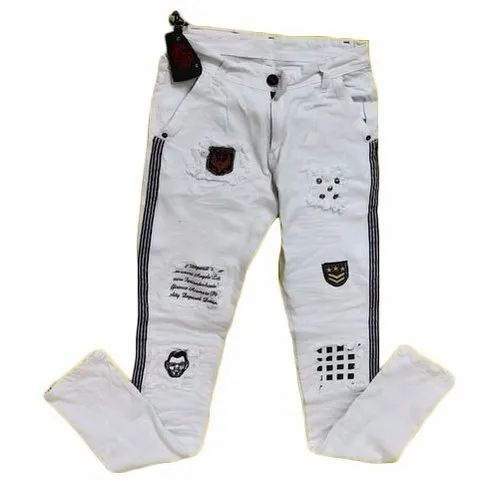 Cotton Printed Mens White Funky Jeans