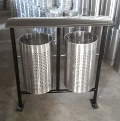 SS Dual Pole Mounted Litter Bin
