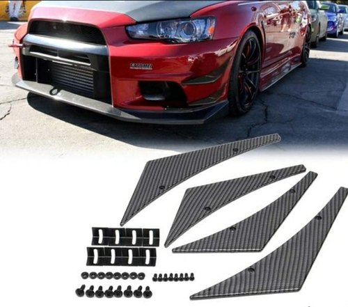 4Pcs Carbon Fiber Car Bumper Fin Canard Splitter Diffuser Valence Spoiler Lip
