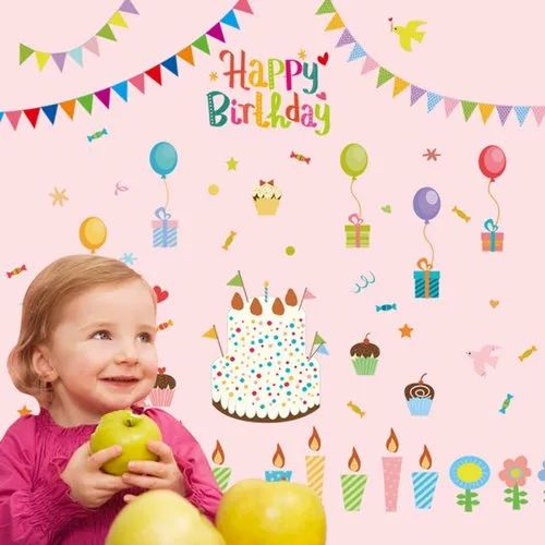 Multicolor Wall Decor Happy Birthday Sticker 60 X 90