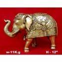 Golden Brass Elephant Statue, For Interior Decor, Size/dimension: H-12 Inch