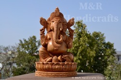 Polished Wooden Ganesha Idol On Lotus 4 Arms, Size(Inch): 8'' Inches