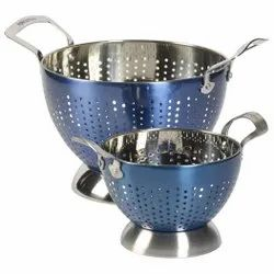 Blue Color 2 Pc Stainless Steel Colander