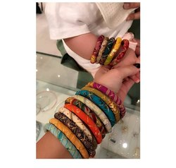Indian Multi Color Traditional Fashion Recycled Natural Silk Cloth Wrapped Bangle For Girls Jewelry