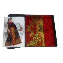 Party Wear Ladies Embroidered Chanderi Cotton Saree, 6.3 M, With Blouse Piece