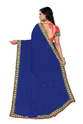 Blue And Pink Color Designer Half And Half Georgette Saree