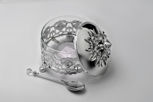 MeLANgE Silver Plated Sugar Pot For Housewarming & Return Gift-GI1089
