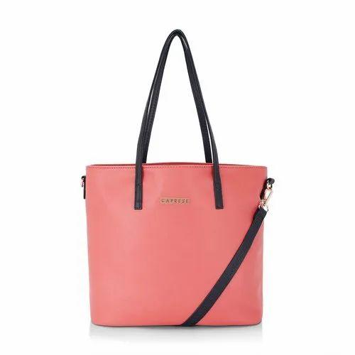 Plain Peach Ladies Caprese Pia Tote Bag