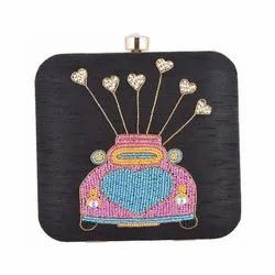 Azzra Cycle Design Black Zardosi Work Clutch