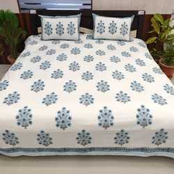 3b18322662 Indian Handmade Block Printed Double Bed Size Pure Cotton Fabric White  Bedsheet
